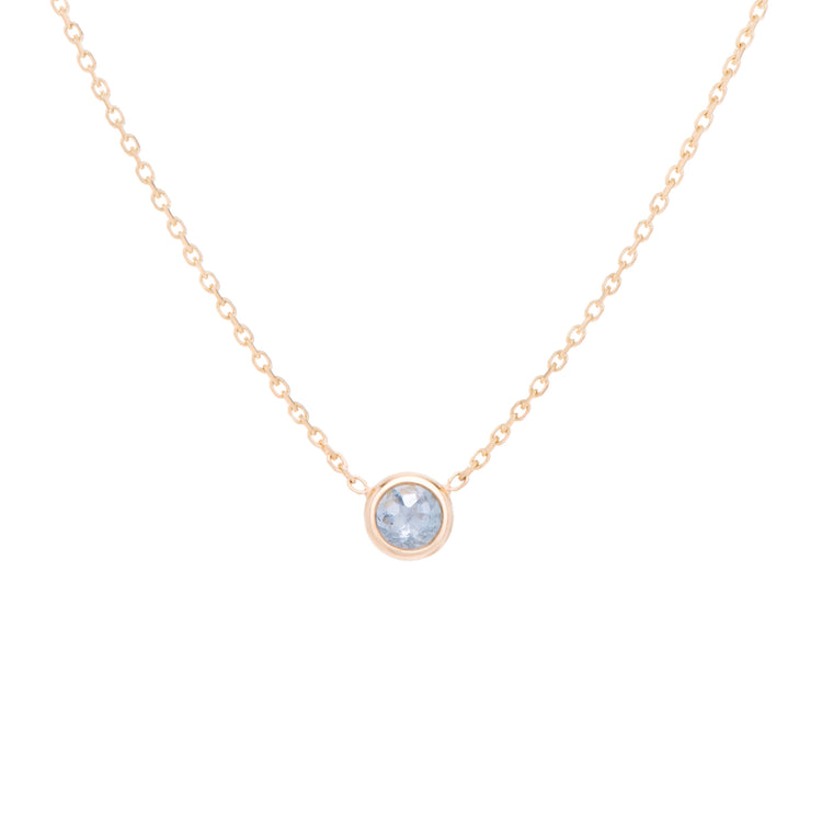 classic birthstone pale teal blue aquamarine necklace, celebrating the month of March. Consisting of 18k gold chain with extenders to personalise length of necklace/choker. Perfect as an anniversary, birthday or special occasion jewellery present.