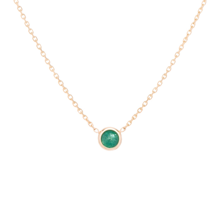 Classic birthstone forest green emerald necklace, celebrating the month of May. Consisting of 18k gold chain with extenders to personalise the length of your necklace/choker.  Perfect as an anniversary, birthday or special occasion jewellery present.