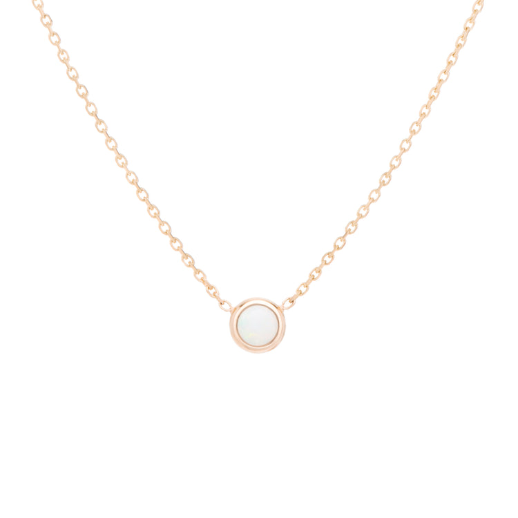 Classic birthstone iridescent white opal necklace, celebrating the month of October. Consisting of 18k gold chain with extenders to personalise length of necklace/choker. Perfect as an anniversary, birthday or special occasion jewellery present.