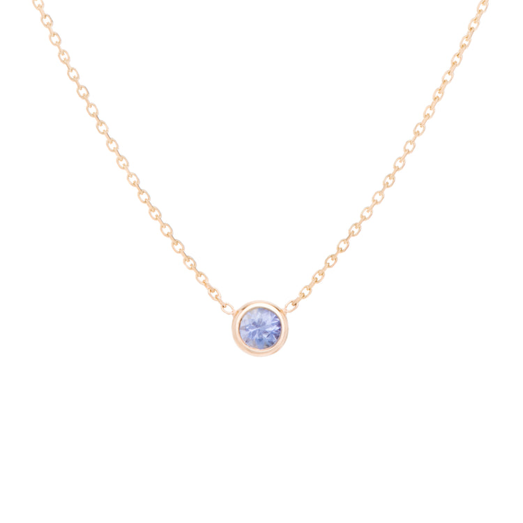 The light violet-blue variety Sapphire necklace, celebrates the month of October. Consisting of 18k gold chain with extenders to personalise length of necklace/choker. Perfect as an anniversary, birthday or special occasion jewellery present.