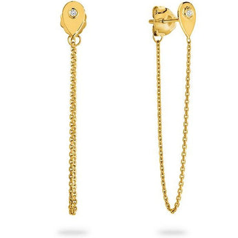 Gorgeous pair of contemporary chain earrings that is looped around the ear lobe and is connected to the butterfly back. Easy to put on and take off with no chance of losing it! Featuring 0.01ct Round Brilliant cut diamond on each side made from solid 9ct Yellow Gold