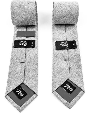 MrShorTie-grey-cotton-short-tie-shortie-necktie-designed-by-founder-of-Mr-ShorTie-Jonathan-Loth