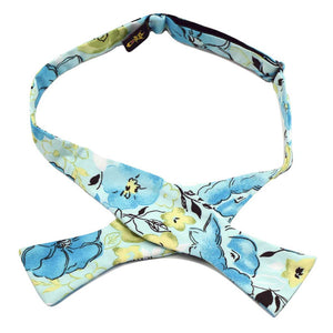 MrShorTie-yellow-blue-green-floral-cotton-bow-tie-bowtie-butterfly-style-handmade-The-Quest
