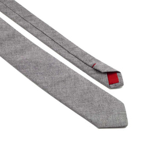 MrShorTie-grey-red-cotton-denim-short-tie-necktie-Smooth-ShorTie