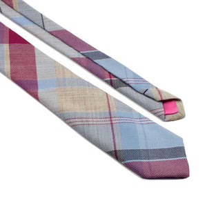 MrShorTie-pink-blue-grey-tan-plaid-wool-short-tie-necktie-Sunday-Afternoon-ShorTie