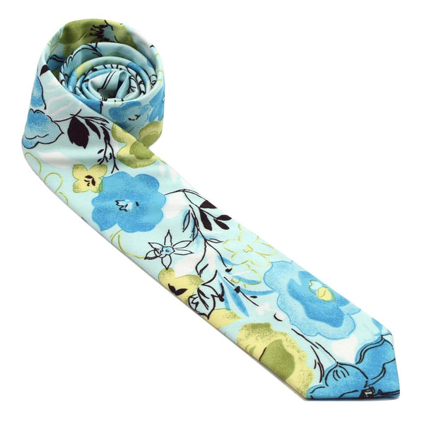 MrShorTie-blue-green-lightblue-cotton-floral-short-tie-necktie-The-Quest-ShorTie