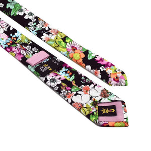 MrShorTie-black-yellow-green-pink-red-cotton-floral-short-tie-necktie-Zane