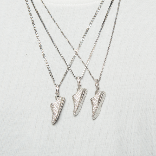 White Gold Yeezy Boost 350 Sneaker Necklace- MurderSquad