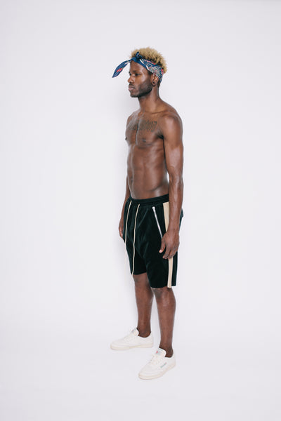 Black Stripe Drop Crotch Shorts