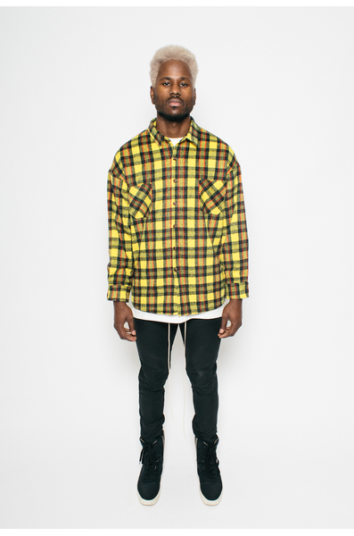 Yellow Oversize Button Up Flannel- MurderSquad