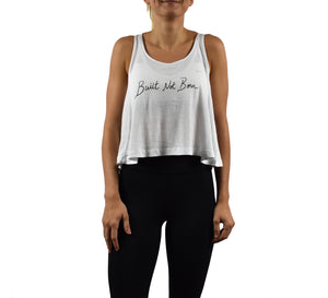 Women's Fitness Crop Top Tank Top White Front
