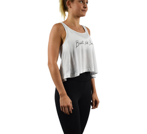 Women's Fitness Crop Top Tank Top White Side