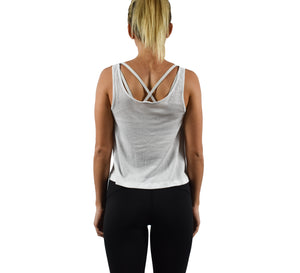 Women's Fitness Crop Top Tank Top White Back