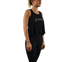 Women's Fitness Crop Top Tank Top Black Side