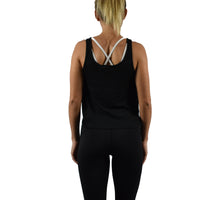 Women's Fitness Crop Top Tank Top Black Back