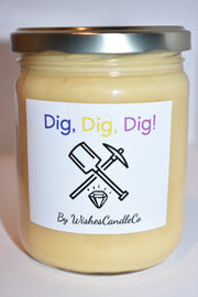 Dig, Dig, Dig! Candle With Mystery Jewlery Inside!