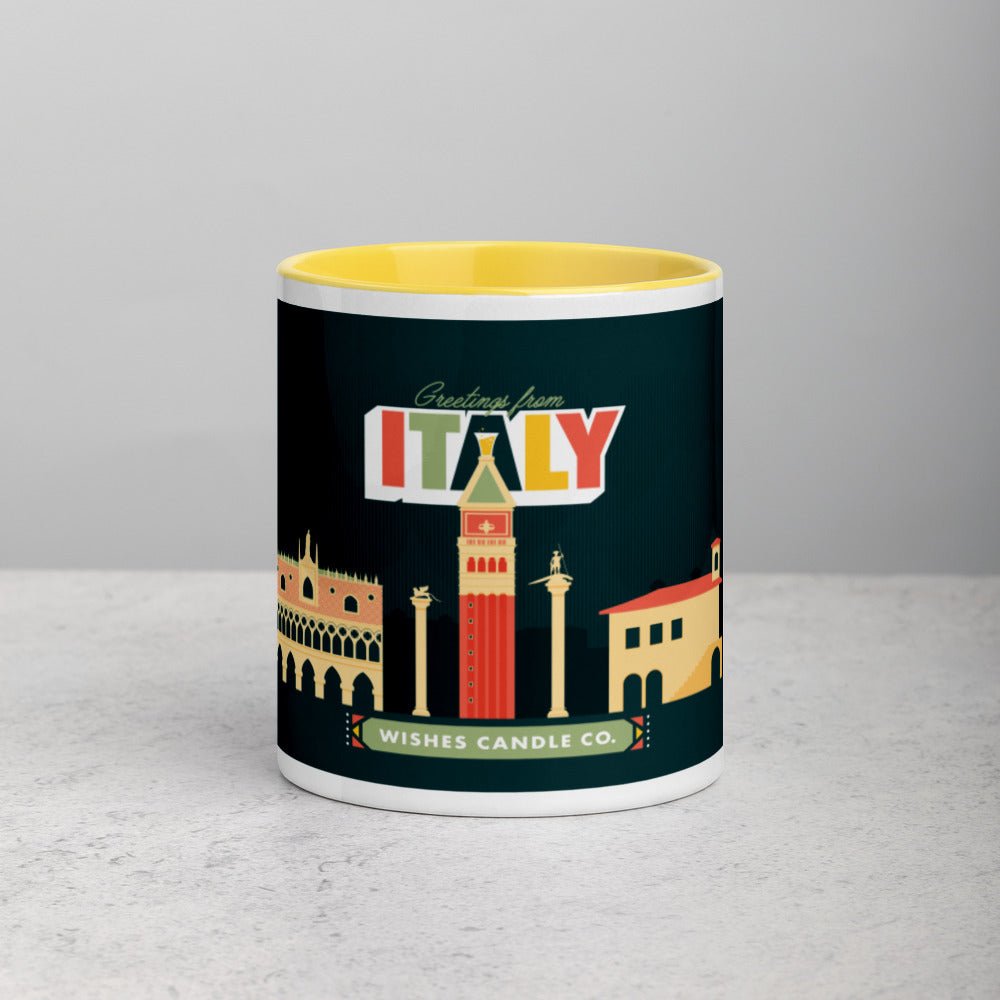 Greetings From - Italy! Color Block Mug