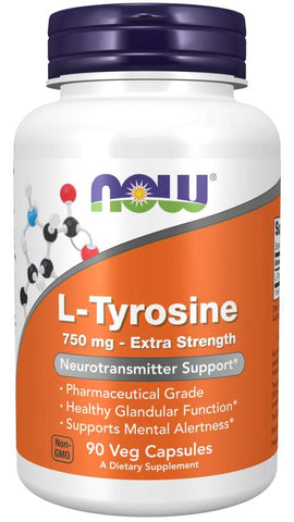 NOW L-Tyrosine 750 mg, Extra Strength Veg Capsules