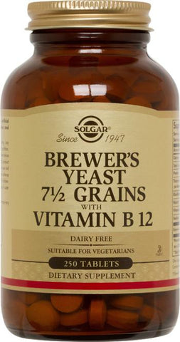 Solgar Brewer's Yeast 7 1/2 Grains Tablets with Vitamin B-12