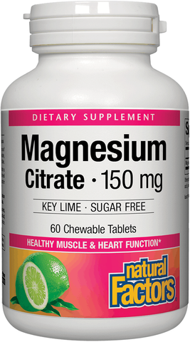 Natural Factors Magnesium Citrate Chewable Tablets - Key Lime (Sugar Free)