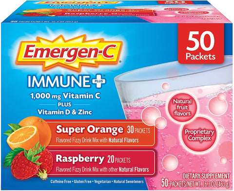 Alacer Emergen-C Immune+ (50 Count, Super Orange and Raspberry Flavors)