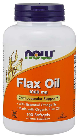 NOW Flax Oil 1000 mg Softgels, Organic