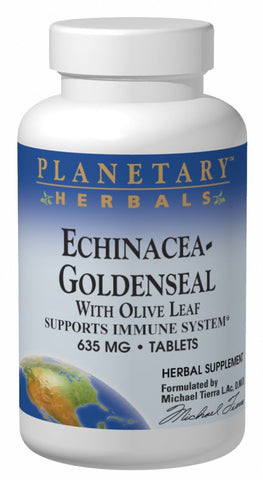 Planetary Herbals Echinacea-Goldenseal with Olive Leaf 635 mg