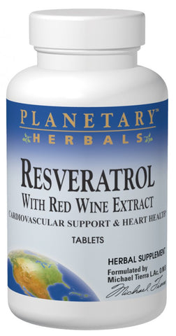 Planetary Herbals Resveratrol with Red Wine Extract 885 mg