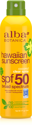 Alba Botanica Hawaiian Sunscreen Coconut Clear Spray SPF 50 Broad Spectrum