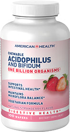 American Health Chewable Acidophilus and Bifidum - Strawberry
