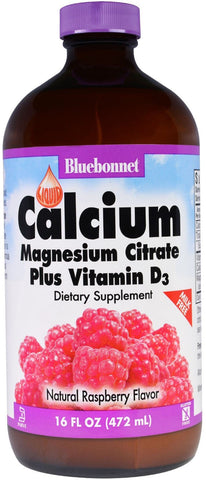 Bluebonnet Nutrition Liquid Calcium Magnesium Citrate Plus Vitamin D3 - Raspberry