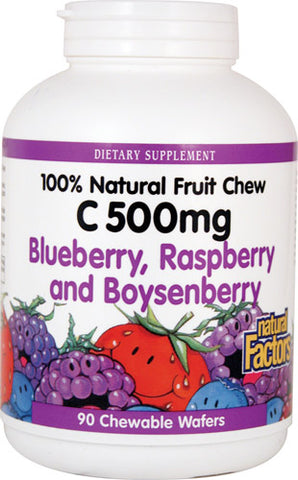 Natural Factors 100% Natural Fruit Chew C 500 mg - Blueberry, Raspberry & Boysenberry