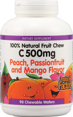 Natural Factors 100% Natural Fruit Chew C 500 mg - Peach, Passionfruit & Mango
