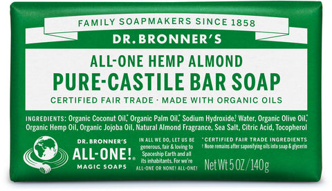 Dr. Bronner's All-One Hemp Pure-Castile Organic Bar Soap - Almond