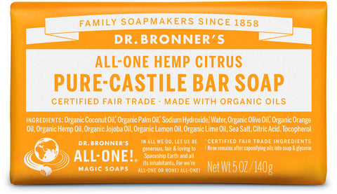 Dr. Bronner's All-One Hemp Pure-Castile Organic Bar Soap - Citrus