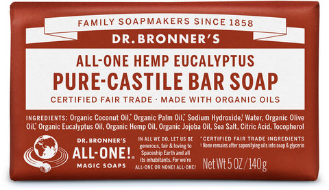 Dr. Bronner's All-One Hemp Pure-Castile Organic Bar Soap - Eucalyptus