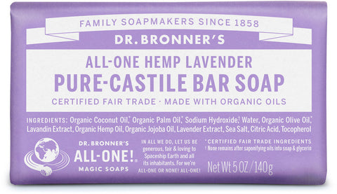 Dr. Bronner's All-One Hemp Pure-Castile Organic Bar Soap - Lavender