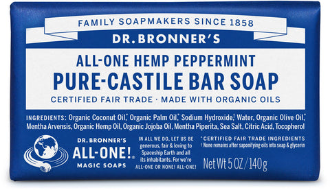 Dr. Bronner's All-One Hemp Pure-Castile Organic Bar Soap - Peppermint