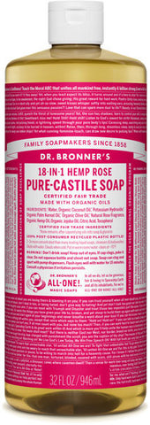 Dr. Bronner's 18-in-1 Hemp Pure-Castile Liquid Soap - Rose