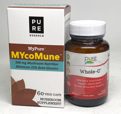 Pure Essence Labs MyPure MYcoMune 60 vegi-caps + FREE Whole-C 30 tablets