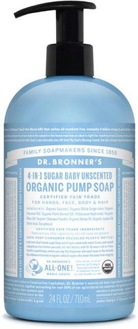 Dr. Bronner's 4-in-1 Sugar Organic Pump Soap - Baby Unscented