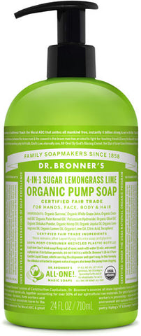 Dr. Bronner's 4-in-1 Sugar Organic Pump Soap - Lemongrass Lime