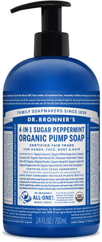 Dr. Bronner's 4-in-1 Sugar Organic Pump Soap - Peppermint