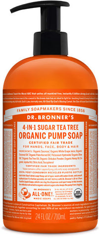 Dr. Bronner's 4-in-1 Sugar Organic Pump Soap - Tea Tree