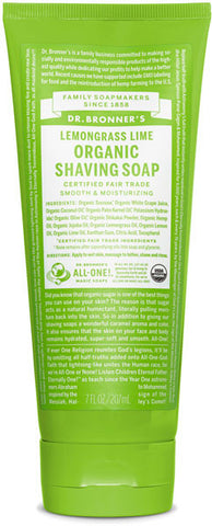 Dr. Bronner's Organic Shaving Soap - Lemongrass Lime
