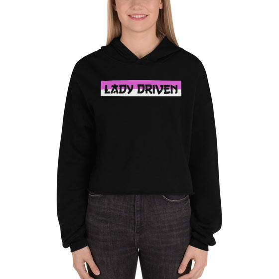 Lady Driven Banner Crop Hoodie - Black