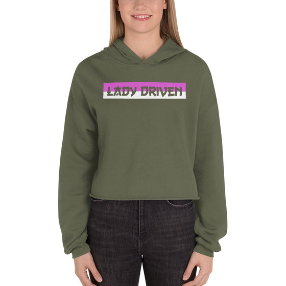 Lady Driven Banner Crop Hoodie - Olive