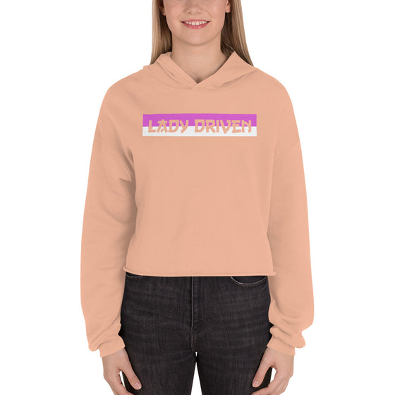 Lady Driven Banner Crop Hoodie - Peach