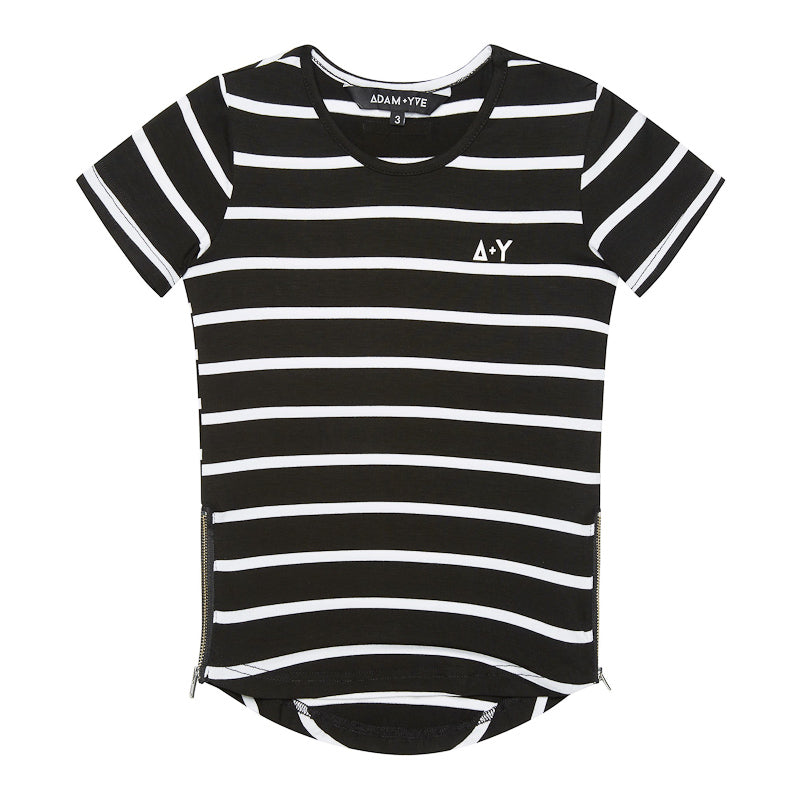 Adam + Yve Ace Side Zip Tee - Black Stripe Tops Adam + Yve - Little Styles