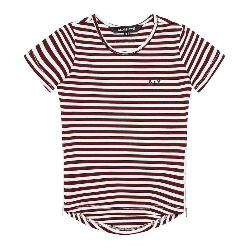 Adam + Yve Sylvester Side Zip Tee - Burgundy Stripe Tops Adam + Yve - Little Styles